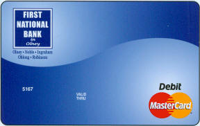 Blue debit card design.