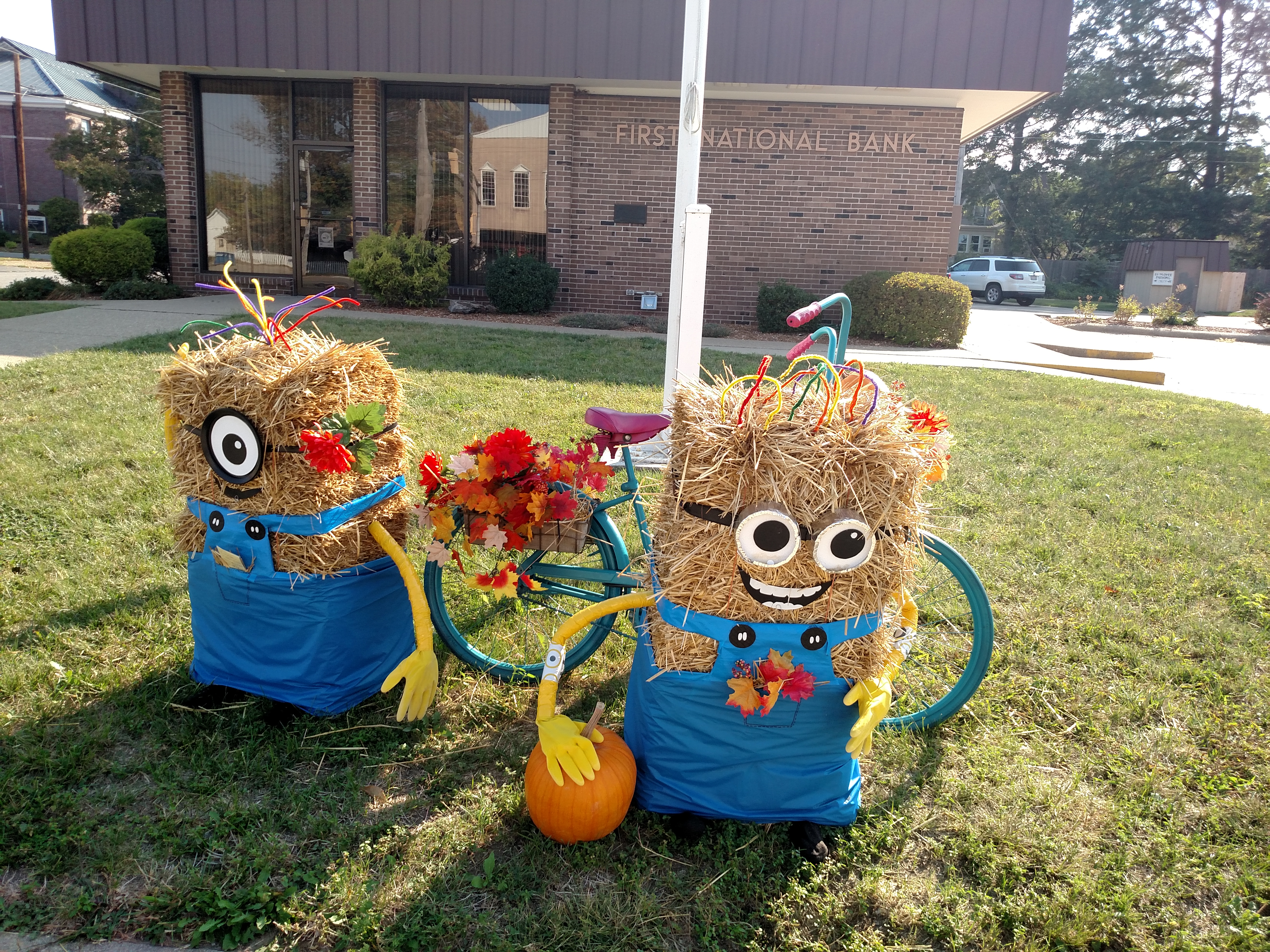 Minion scarecrows at whittle ave facility.