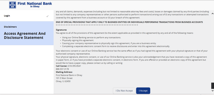 Screenshot of Access Agreement and Disclosure Statement.