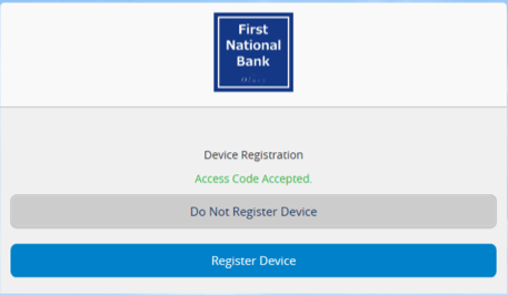 Screenshot of device registration.