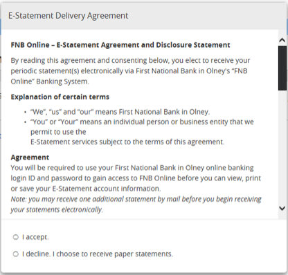 Screenshot of E-Delivery agreement.