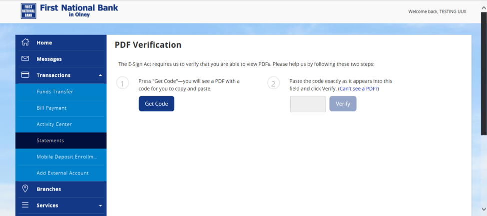 Screenshot of PDF Verification form.
