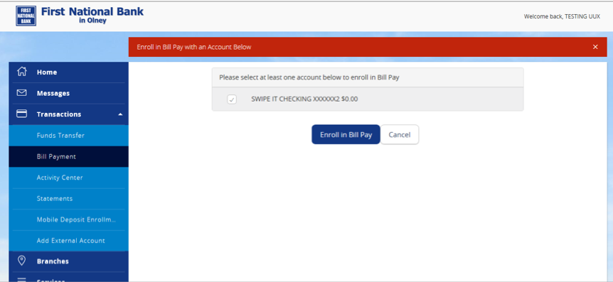 Screenshot of Bill Pay enrollment form.