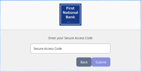 Screenshot of secure access code input.