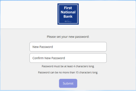 Screenshot of new password form.