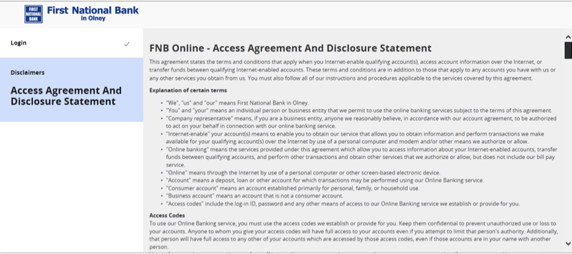 Screenshot of OLB access agreement.